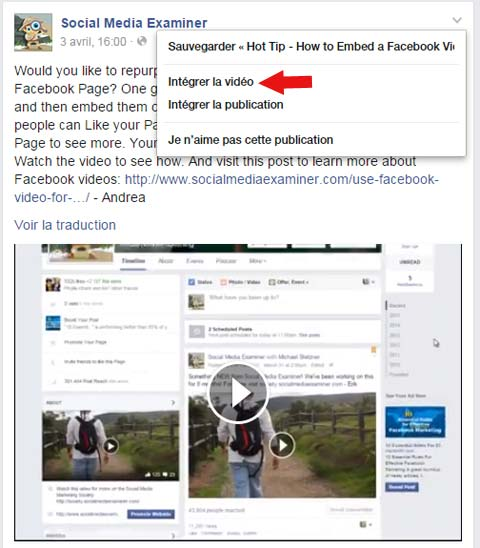 inserer video facebook